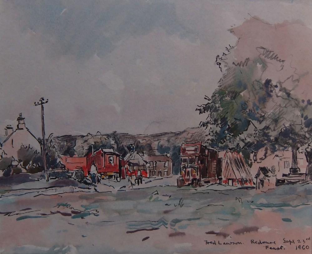 fred lawson redmire feast watercolour drawing