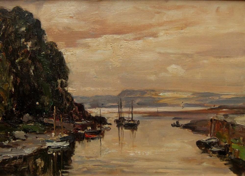 owen bowen the harbour oil painting