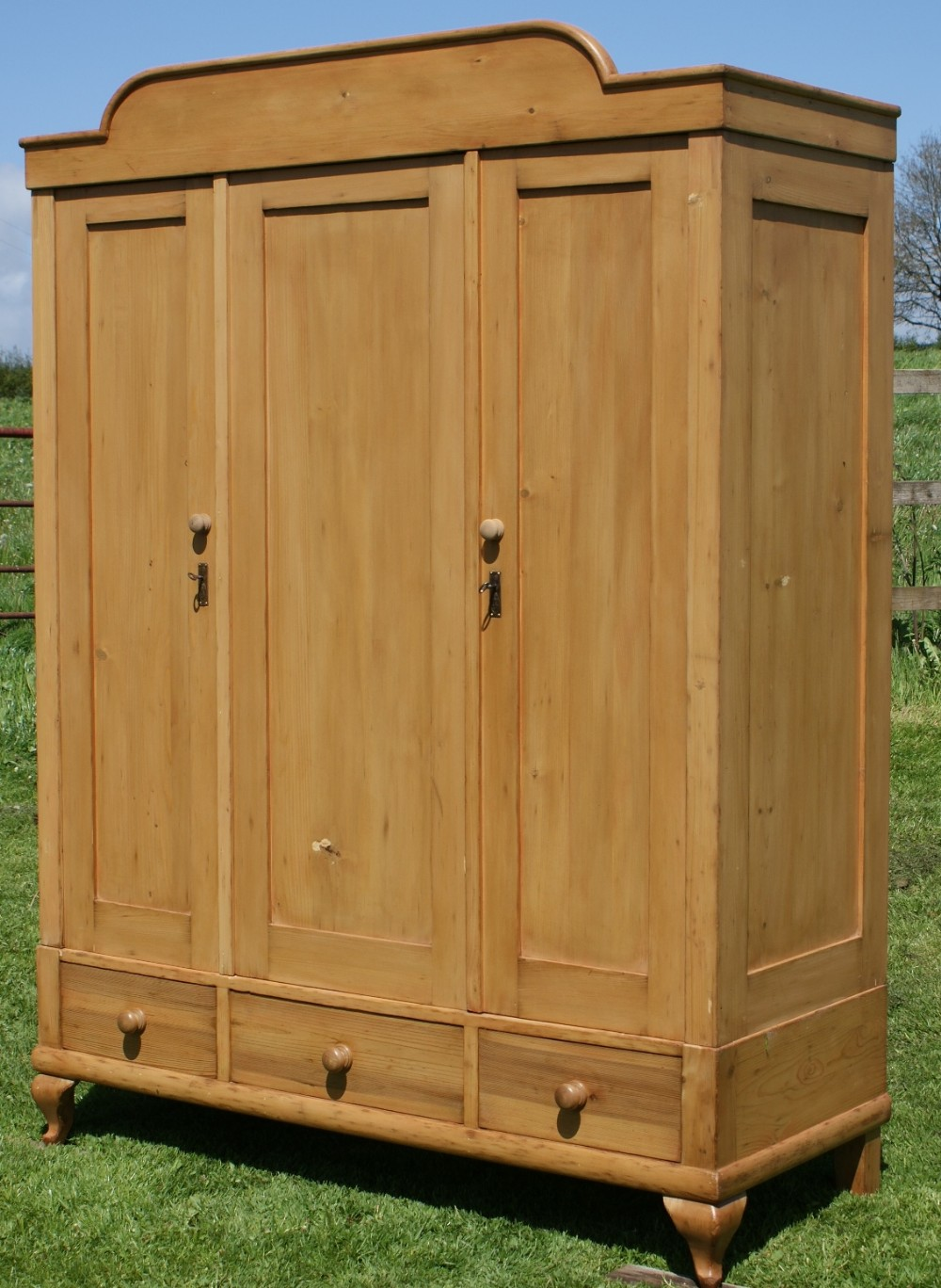 A 19th Century Large Antique Dutch Solid Pine Armoire