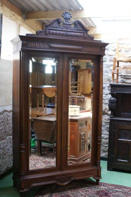 Charmant French Walnut Mirror Door Armoire