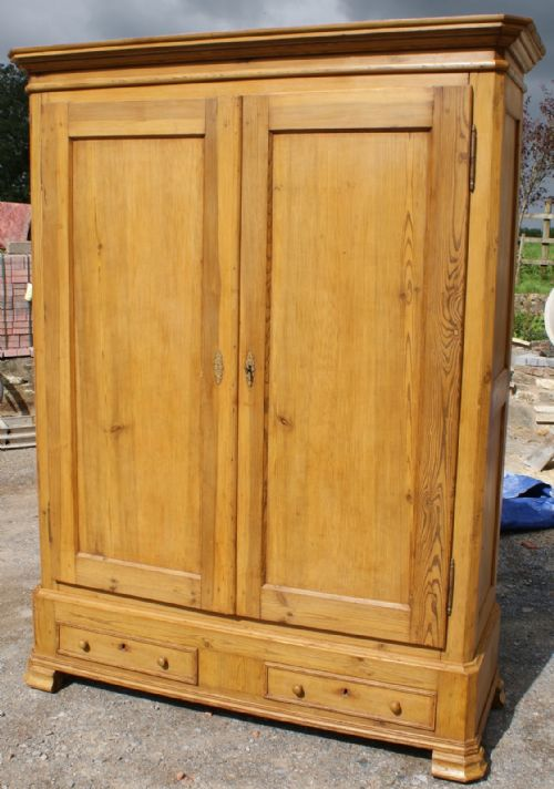 Antique French Louis Philippe Pine Armoire Wardrobe