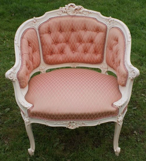 french upholstered shabby chic arm chair fauteuil 191724