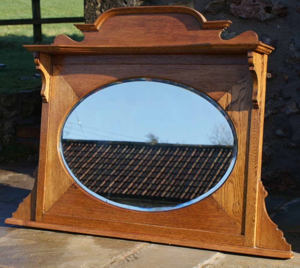 An early 20th century oak over mantle mirror 266143 for Mantle mirror