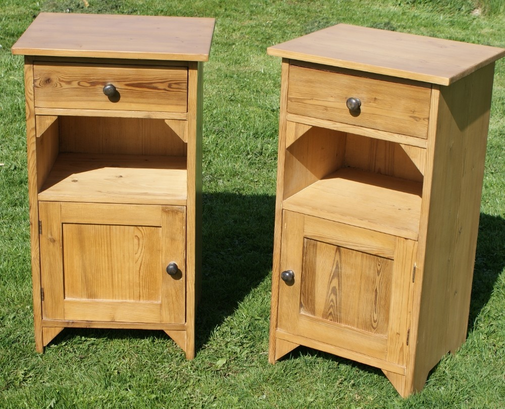 a very pretty matching pair of dutch stripped pine bedside cabinets pot  cupboards. antique photo - A Very Pretty Matching Pair Of Dutch Stripped Pine Bedside