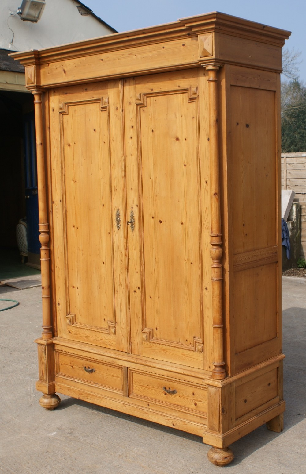 Late 19th Century Large Antique French Solid Pine Armoire Wardrobe