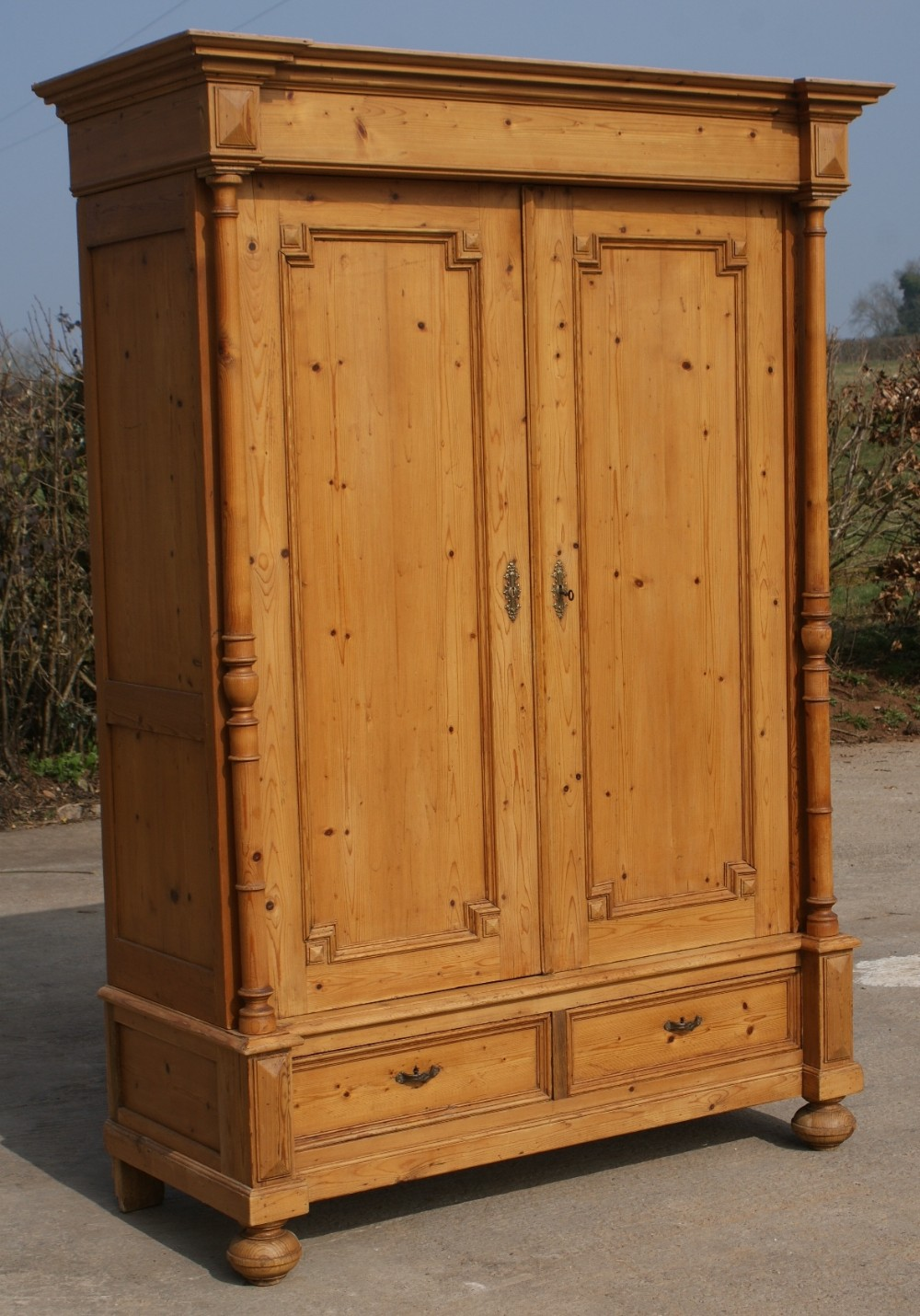 Superbe Late 19th Century Large Antique French Solid Pine Armoire Wardrobe | 332778  | Sellingantiques.co.uk