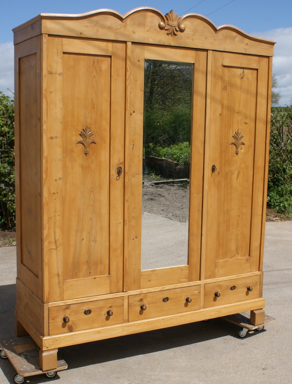 a 19th century large antique dutch solid pine armoire. Black Bedroom Furniture Sets. Home Design Ideas