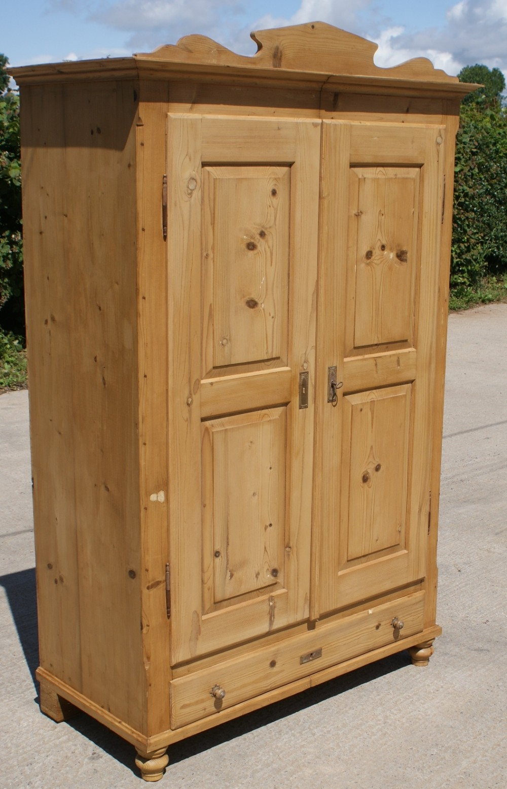 a 19th century large antique german solid pine armoire. Black Bedroom Furniture Sets. Home Design Ideas