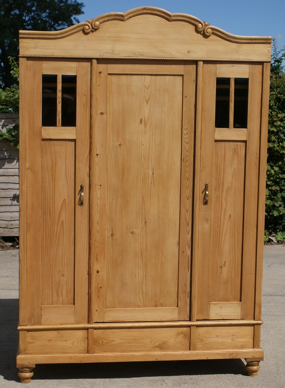 early 20th century large antique dutch solid pine armoire. Black Bedroom Furniture Sets. Home Design Ideas