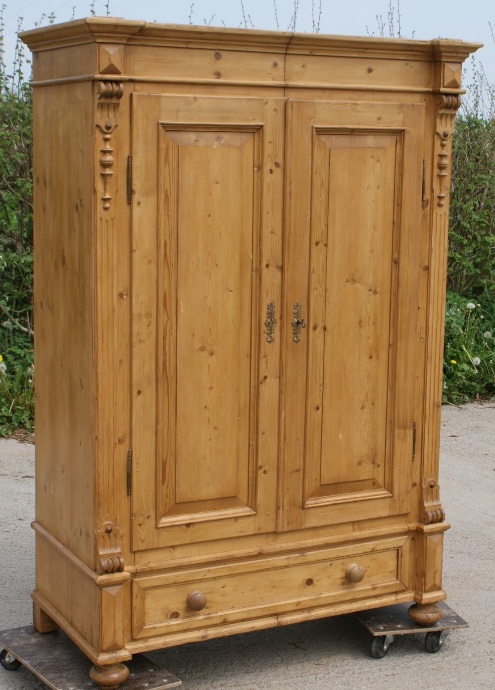 Late 19th Century Large Antique German Solid Pine Armoire ...