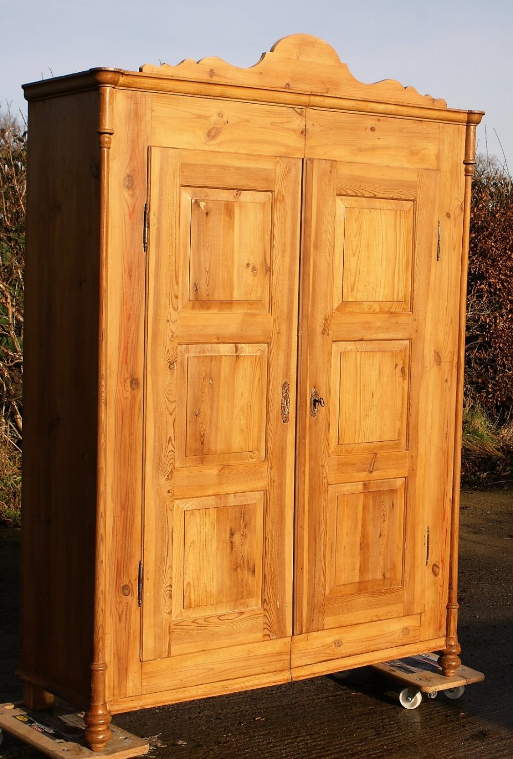late 19th century large antique dutch solid pine armoire. Black Bedroom Furniture Sets. Home Design Ideas