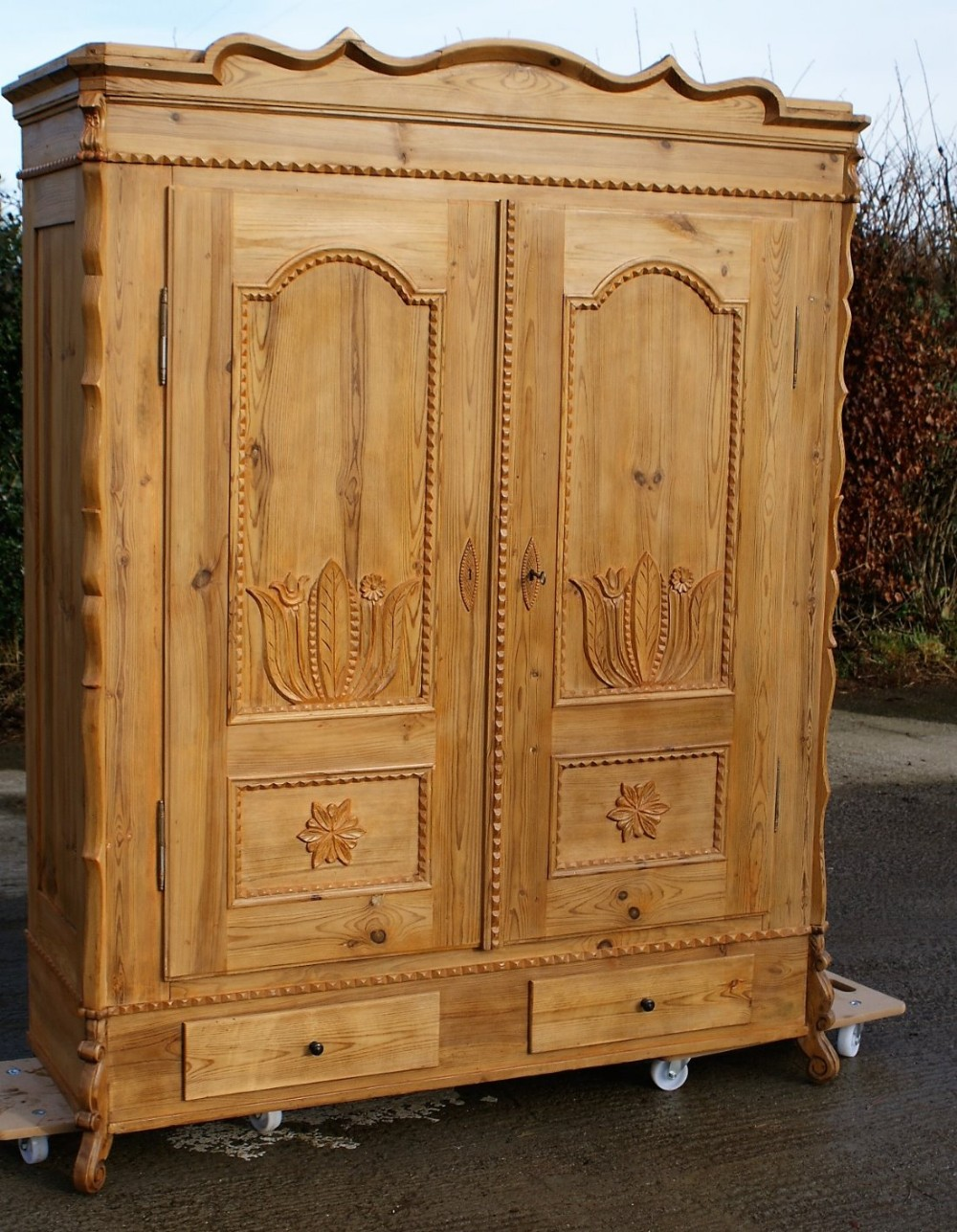 19th century large antique french solid pine armoire. Black Bedroom Furniture Sets. Home Design Ideas