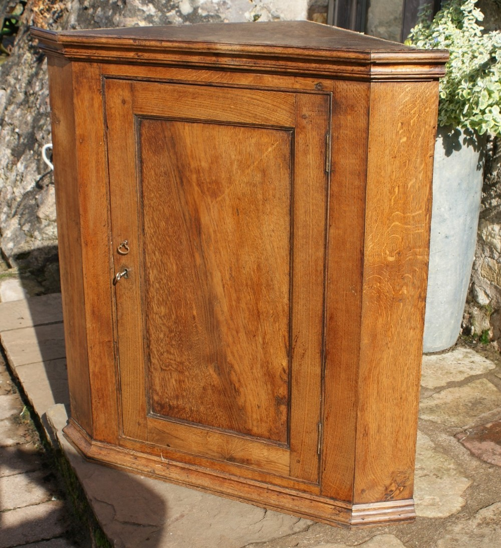 antique victorian oak corner cupboard with painted interior - Antique Victorian Oak Corner Cupboard With Painted Interior 498912