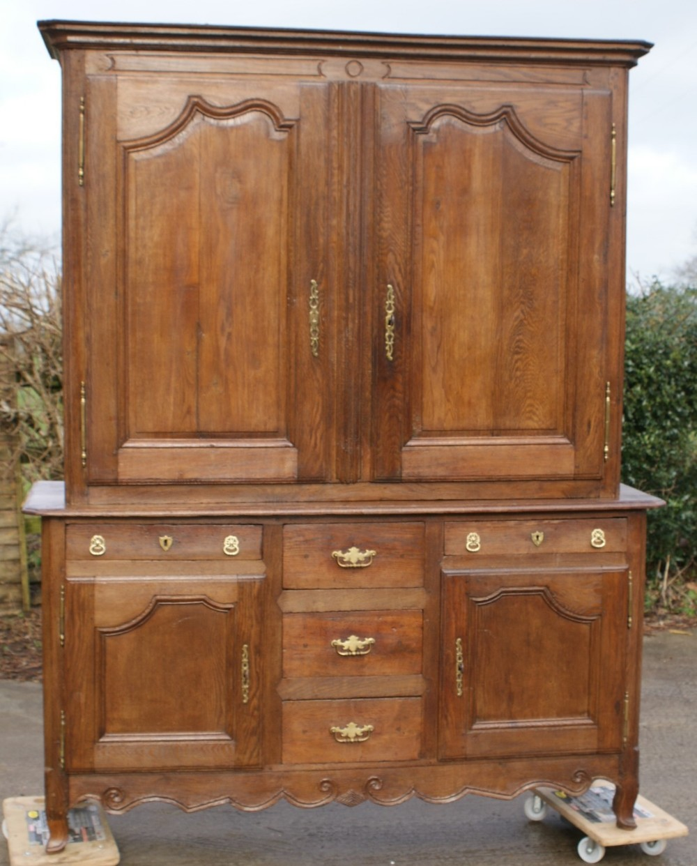 an imposing late 18th century french solid oak buffet dresser