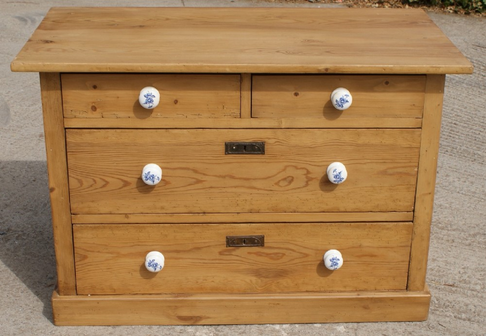 pretty late 19th century german antique solid pine chest of 4 drawers