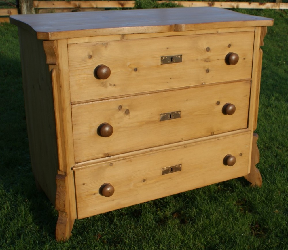 pretty late 19th century german antique solid pine chest of drawers