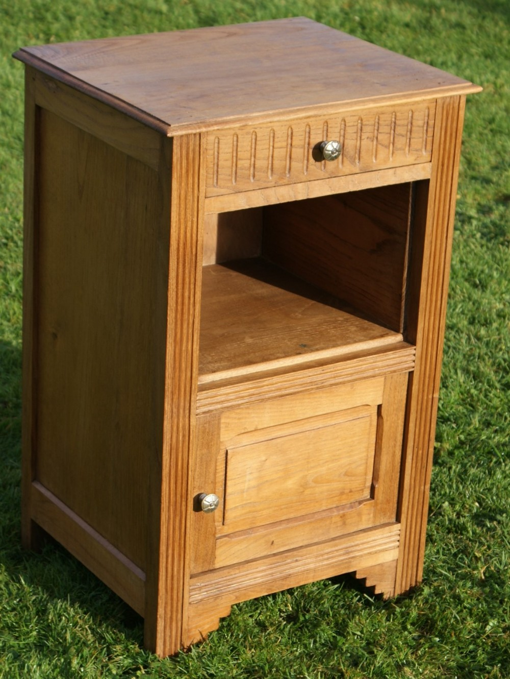 a fine early 20th century french chestnut art deco bedside cabinet