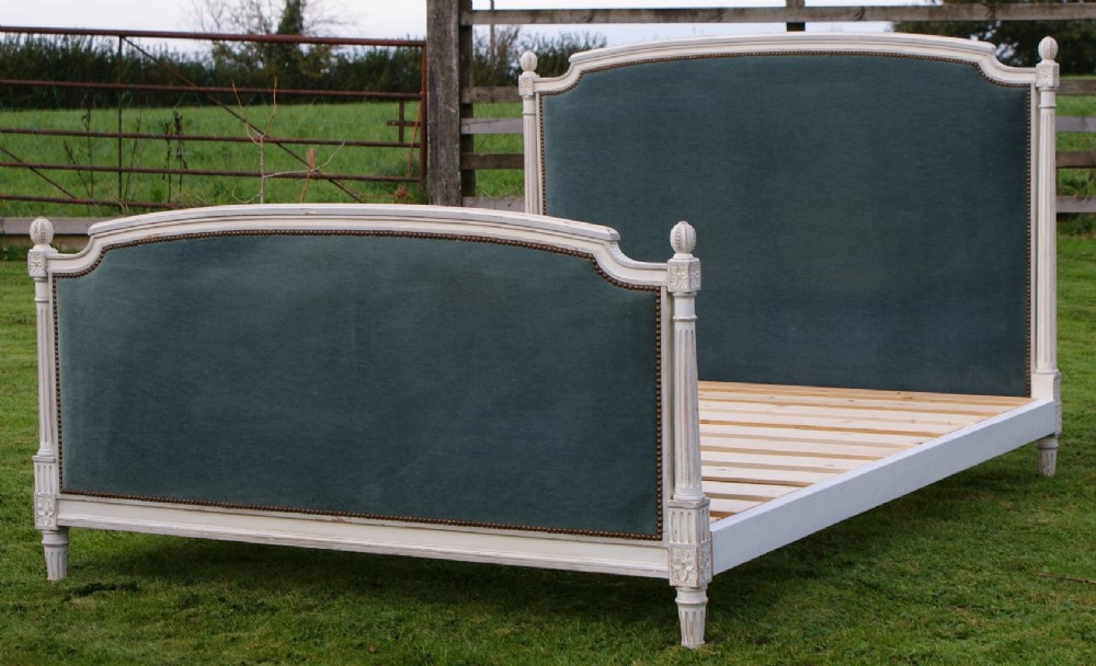 pretty early 20th century shabby chic french upholstered king size bed