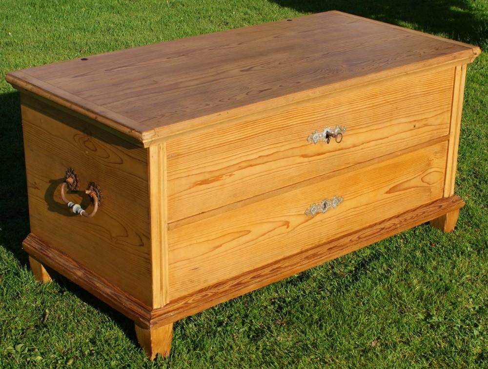 antique german stripped pine blanket box