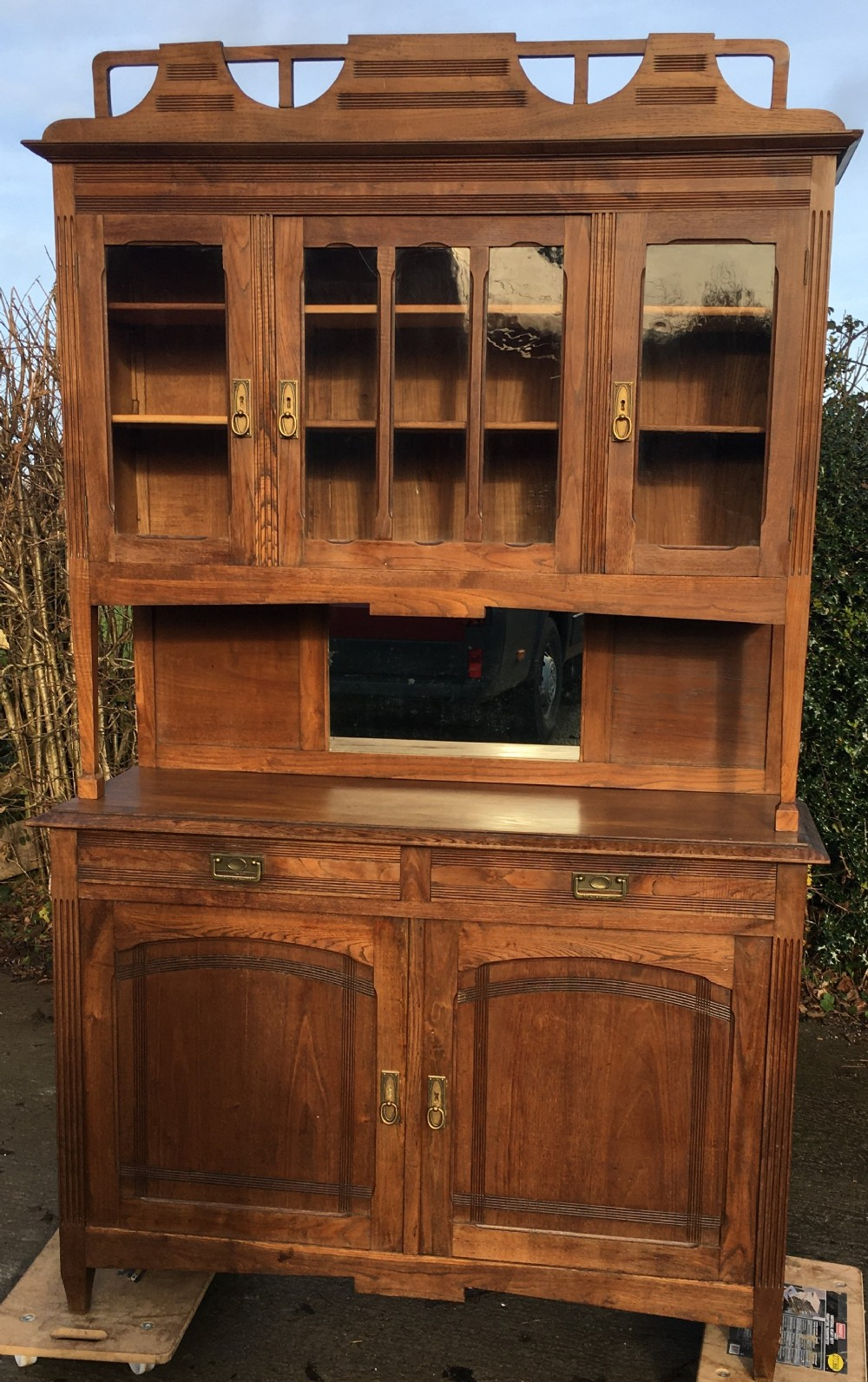 a fine french chestnut arts crafts 2 piece buffet dresser
