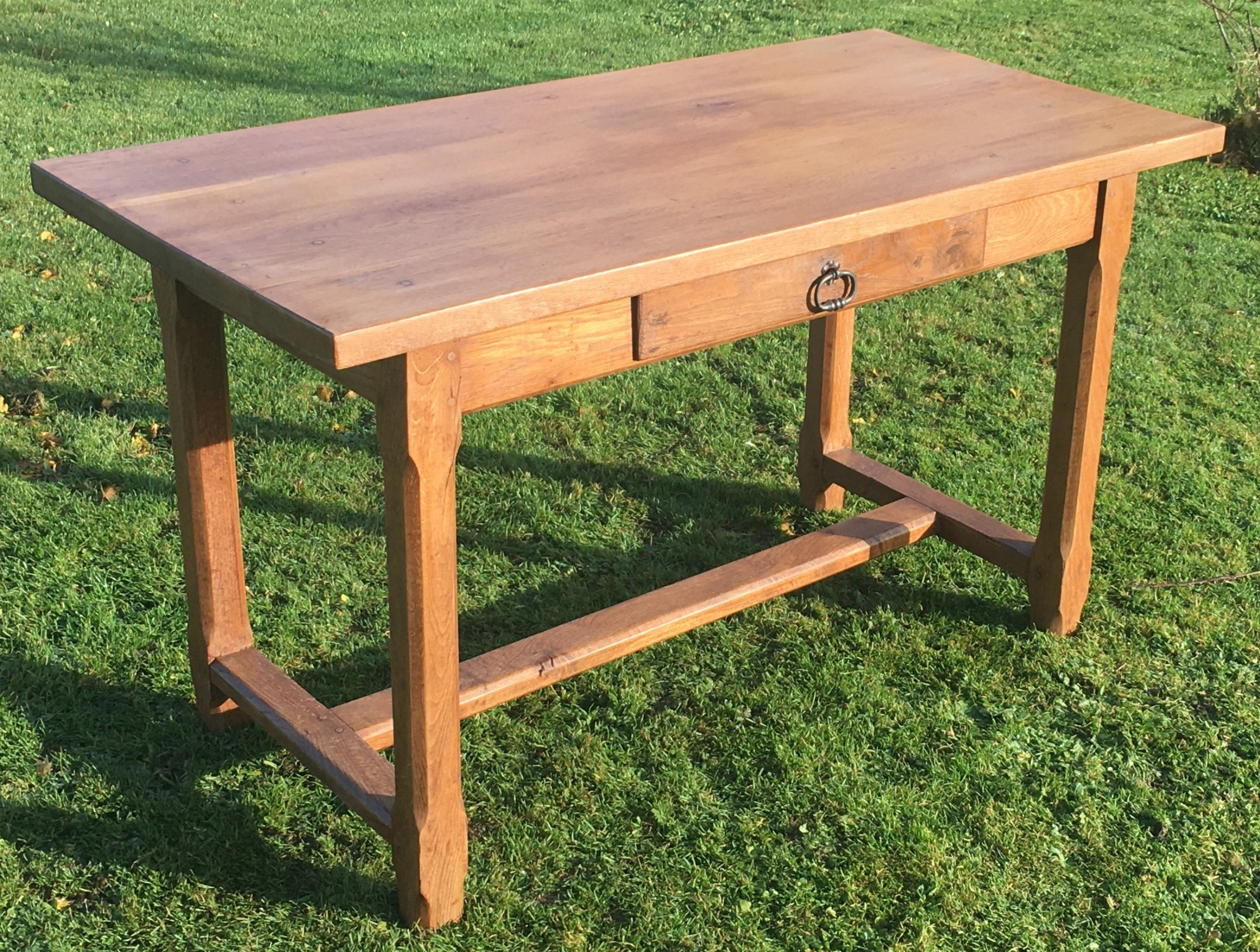 small early 20th century french heavy oak refectory table