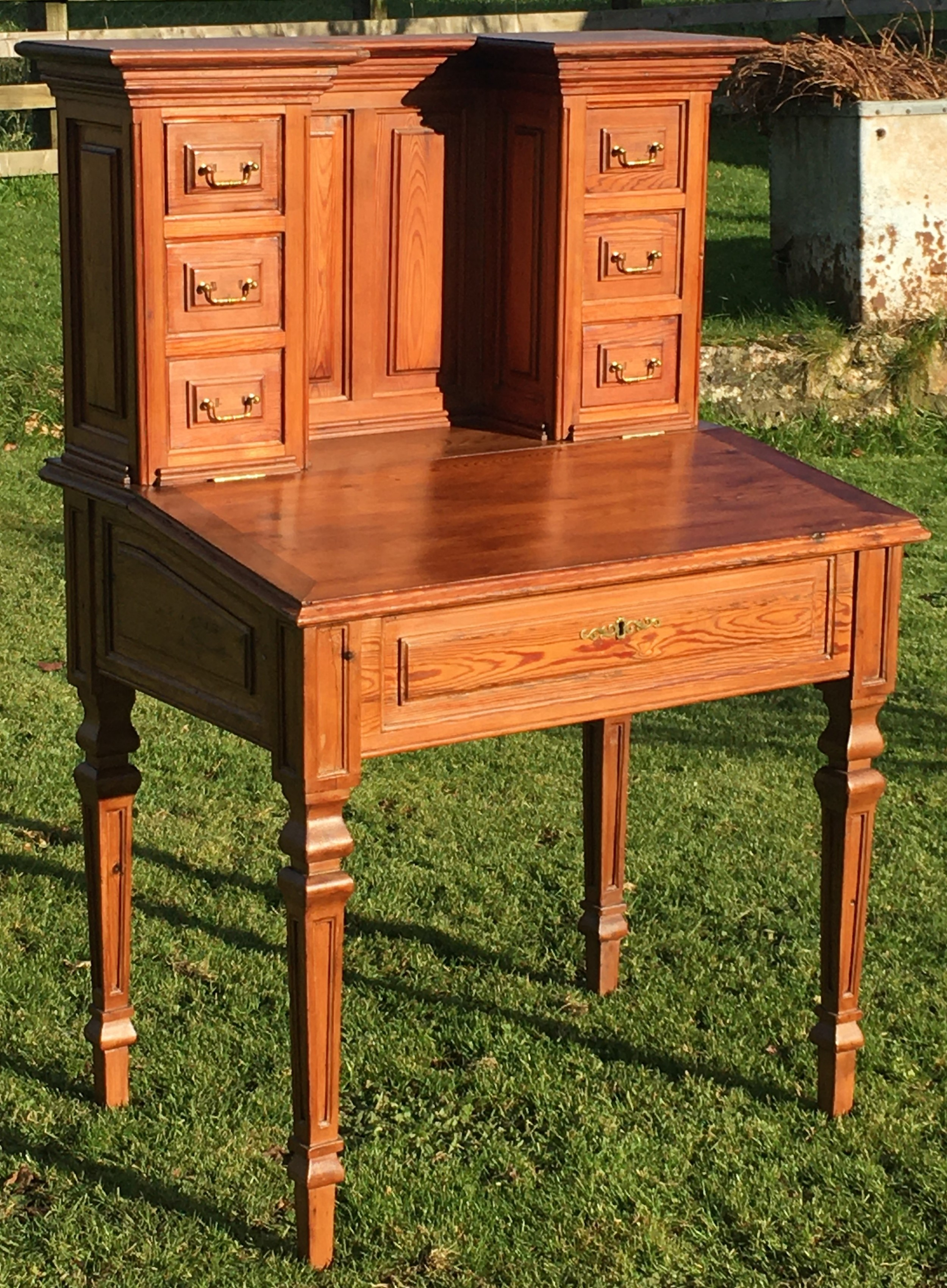 a stunning french pitch pine desk