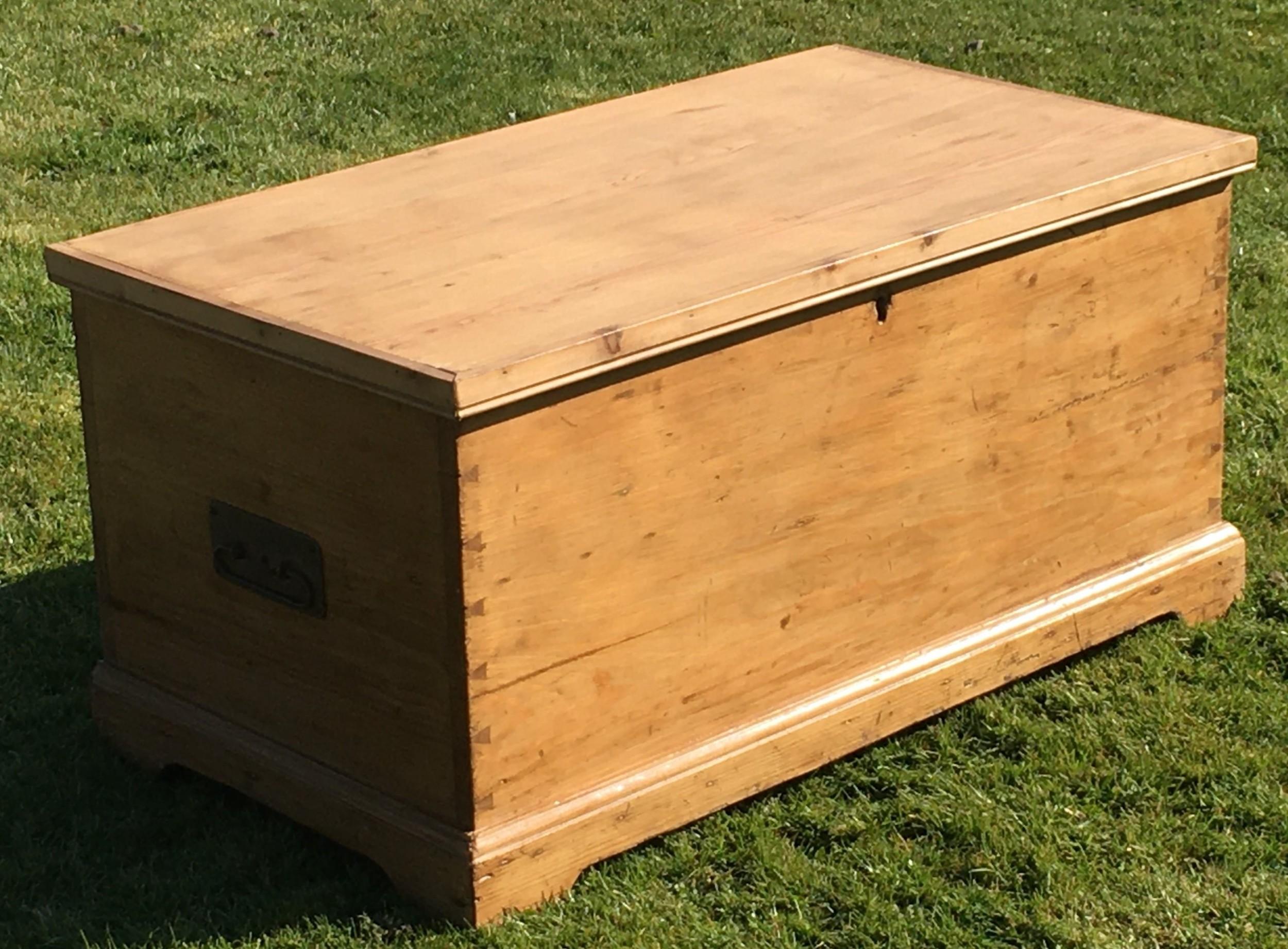 antique english stripped pine blanket box