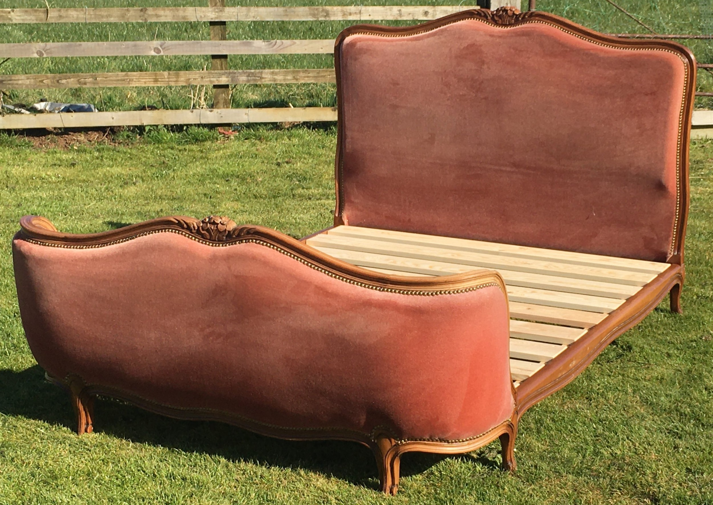 pretty early 20th century french upholstered double bed with base