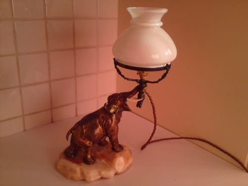 art deco bronze elephant lamp