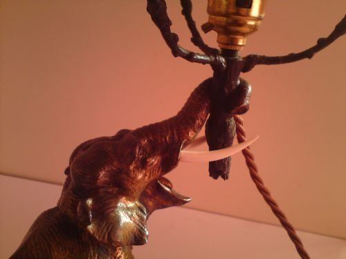 art deco bronze elephant lamp - photo angle #2