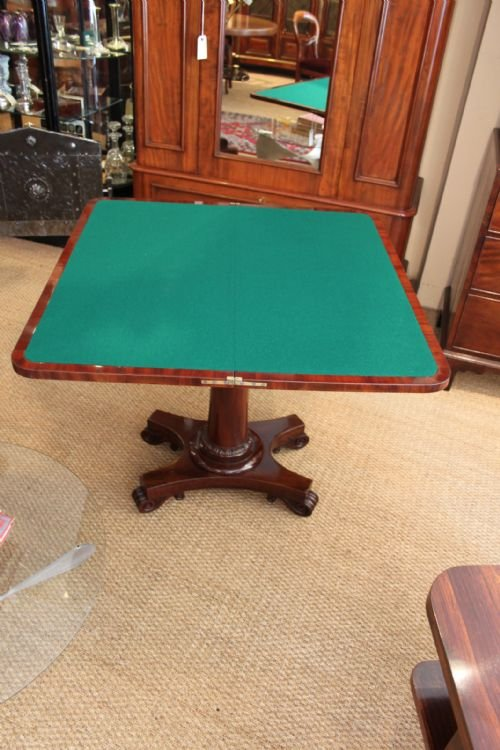 early victorian mahogany card table - photo angle #3