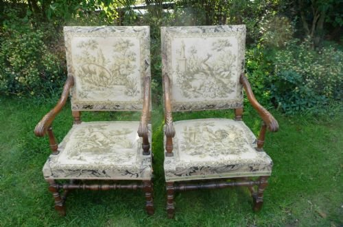 armchairs walnut c 1880