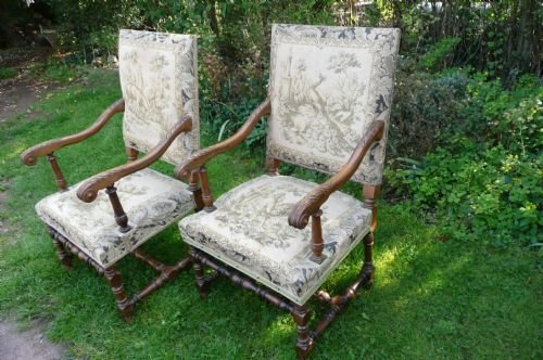 armchairs walnut c 1880 - photo angle #2