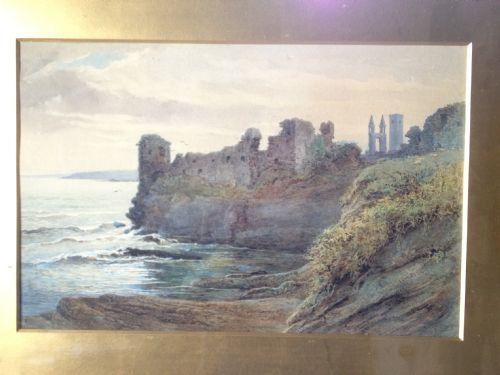 watercolour st andrews castle scotland