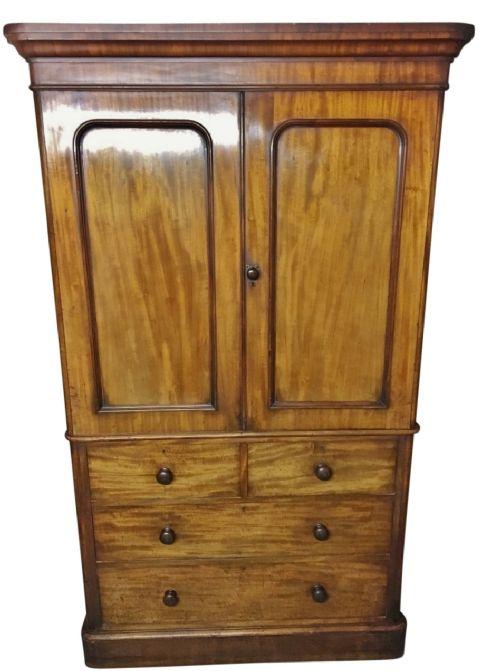antique mahogany linen press c 1860