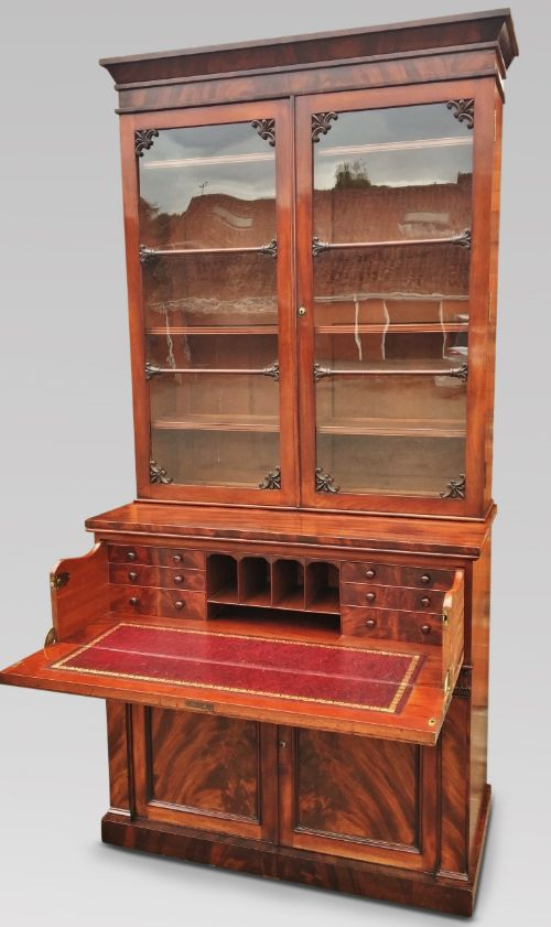 fabulous figured mahogany library bookcase english c 1830