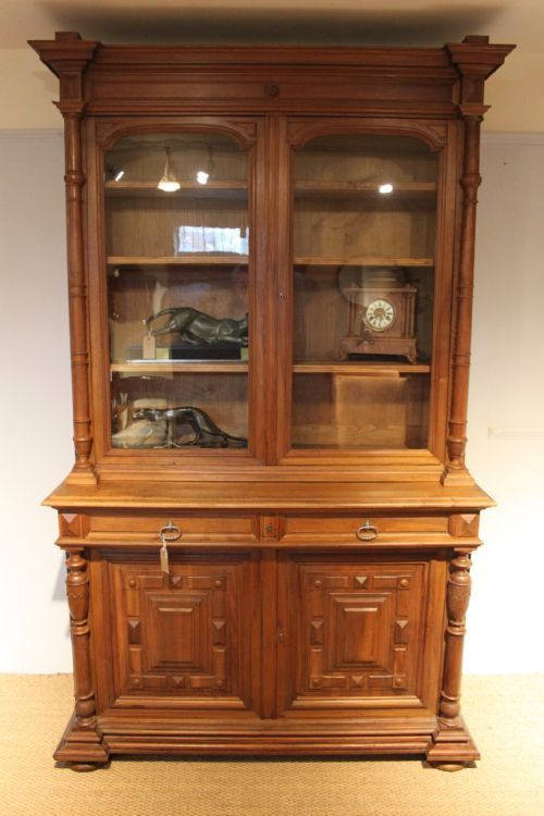 large 2 part walnut bookcase