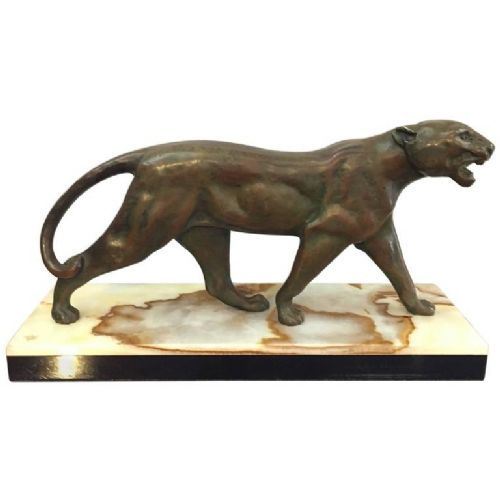 art deco bronze panther