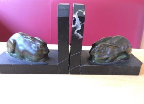 art deco bronze marble bookends