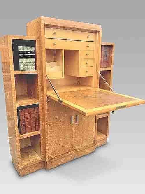 art deco secretaire bookcase c1930s