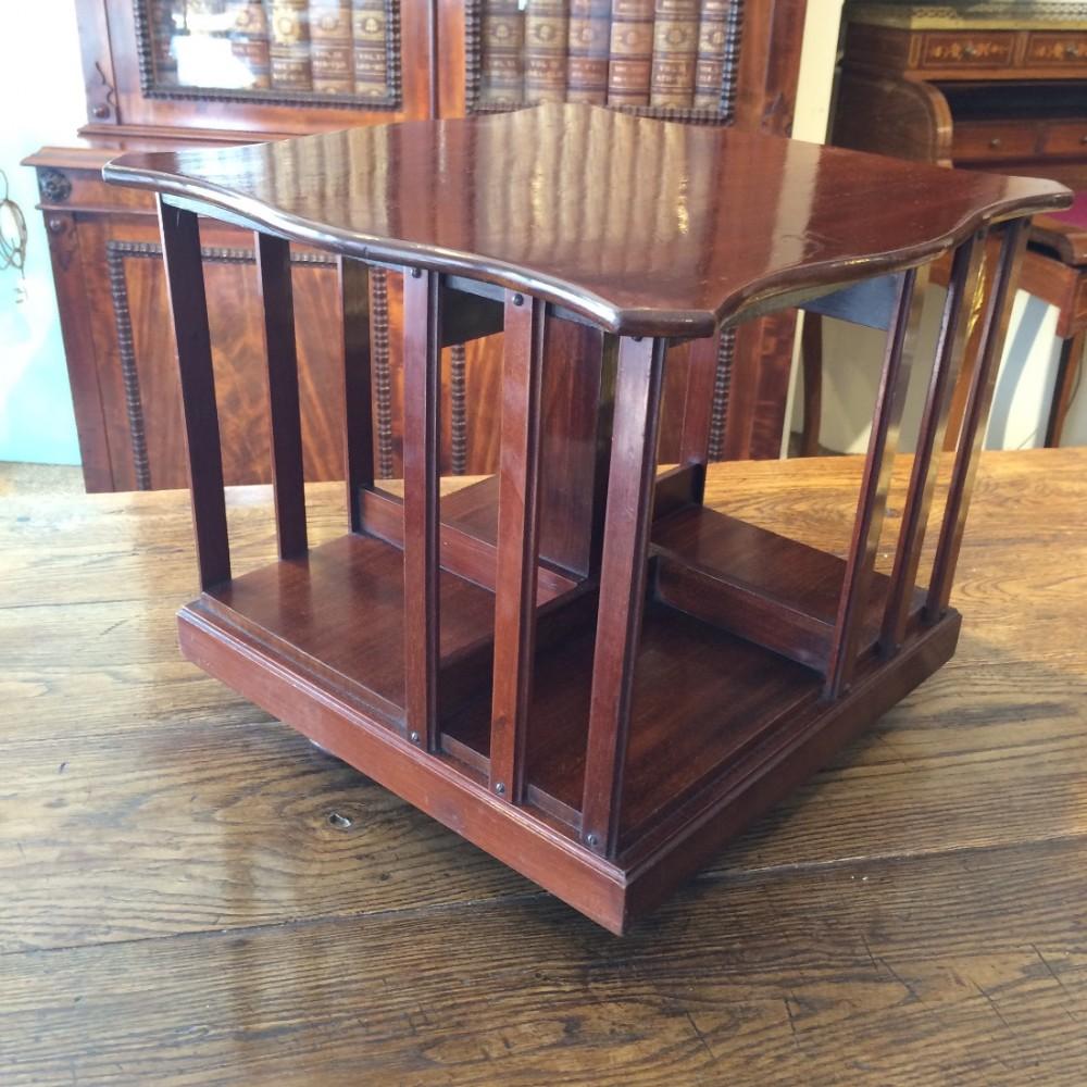 mahogany table top revolving bookcase