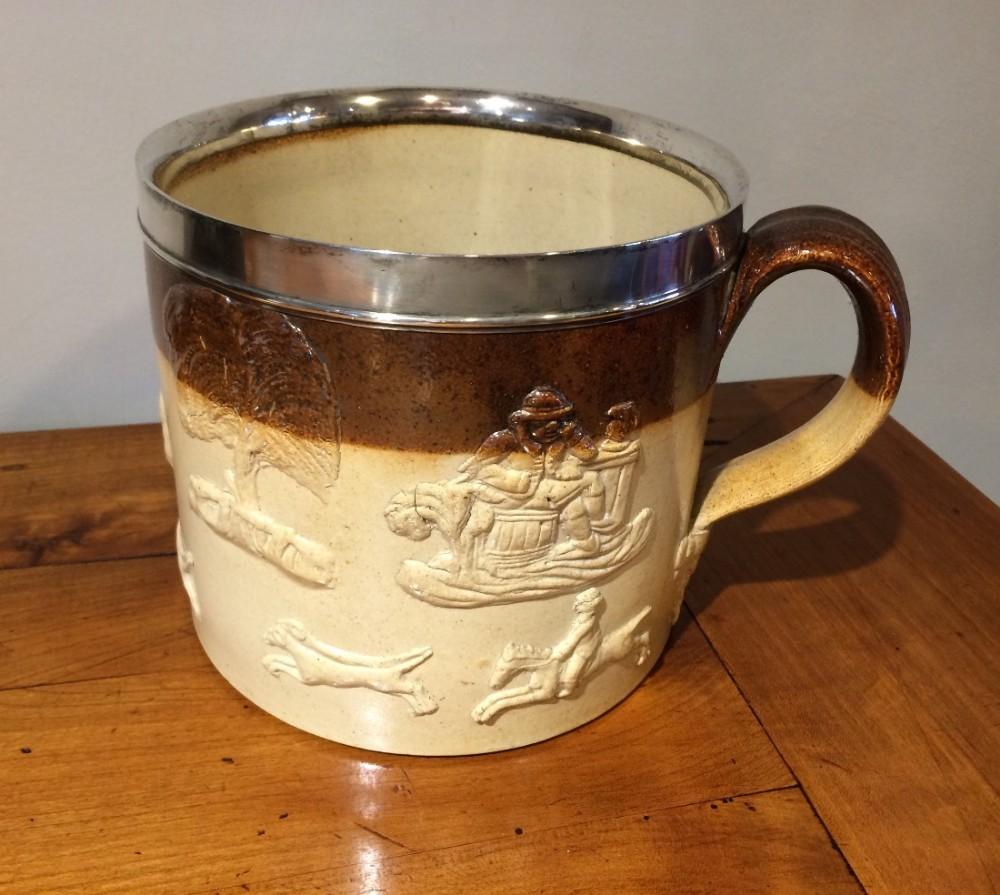 very large silver mounted stoneware harvest mug