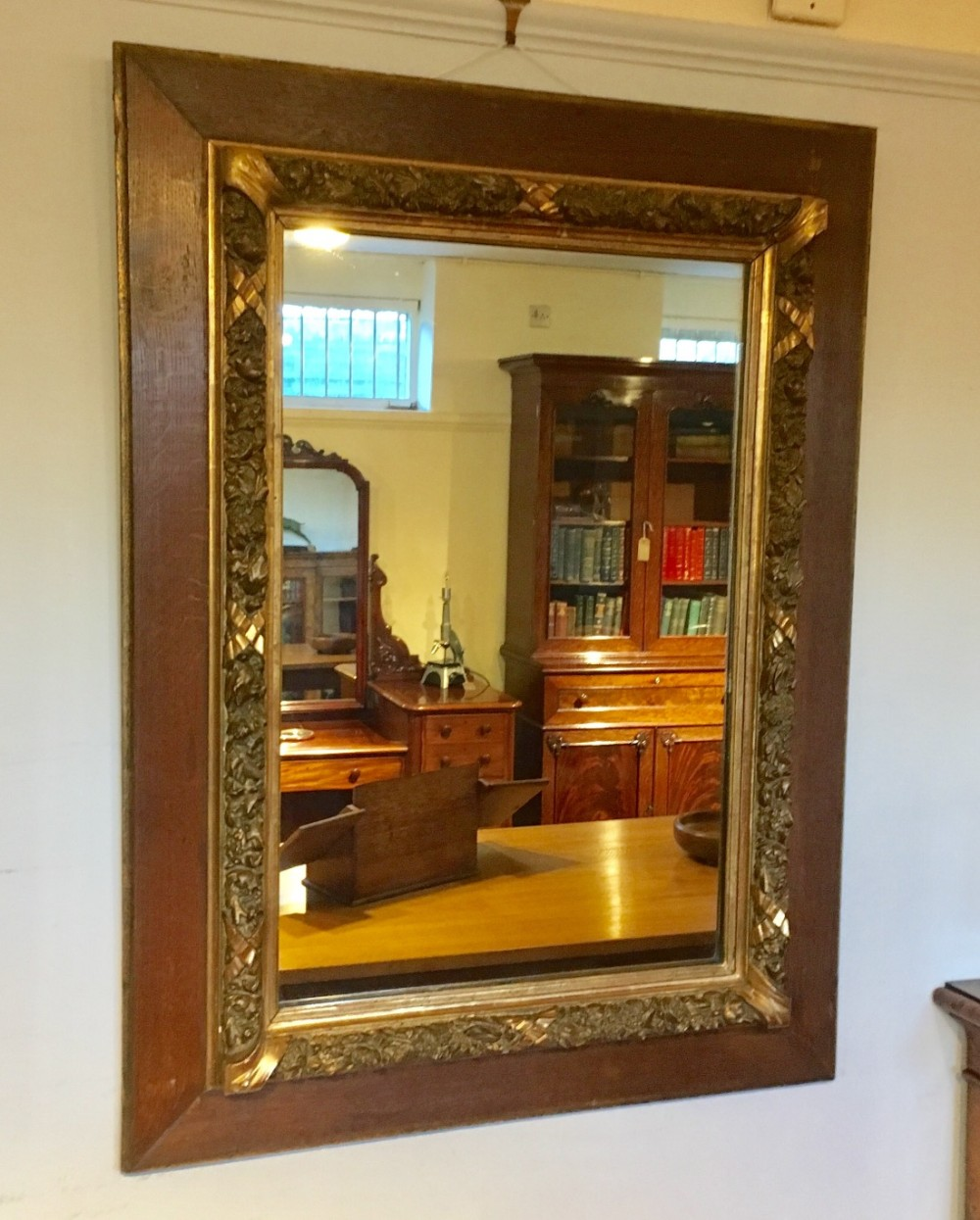 antique gilt and oak framed mirror