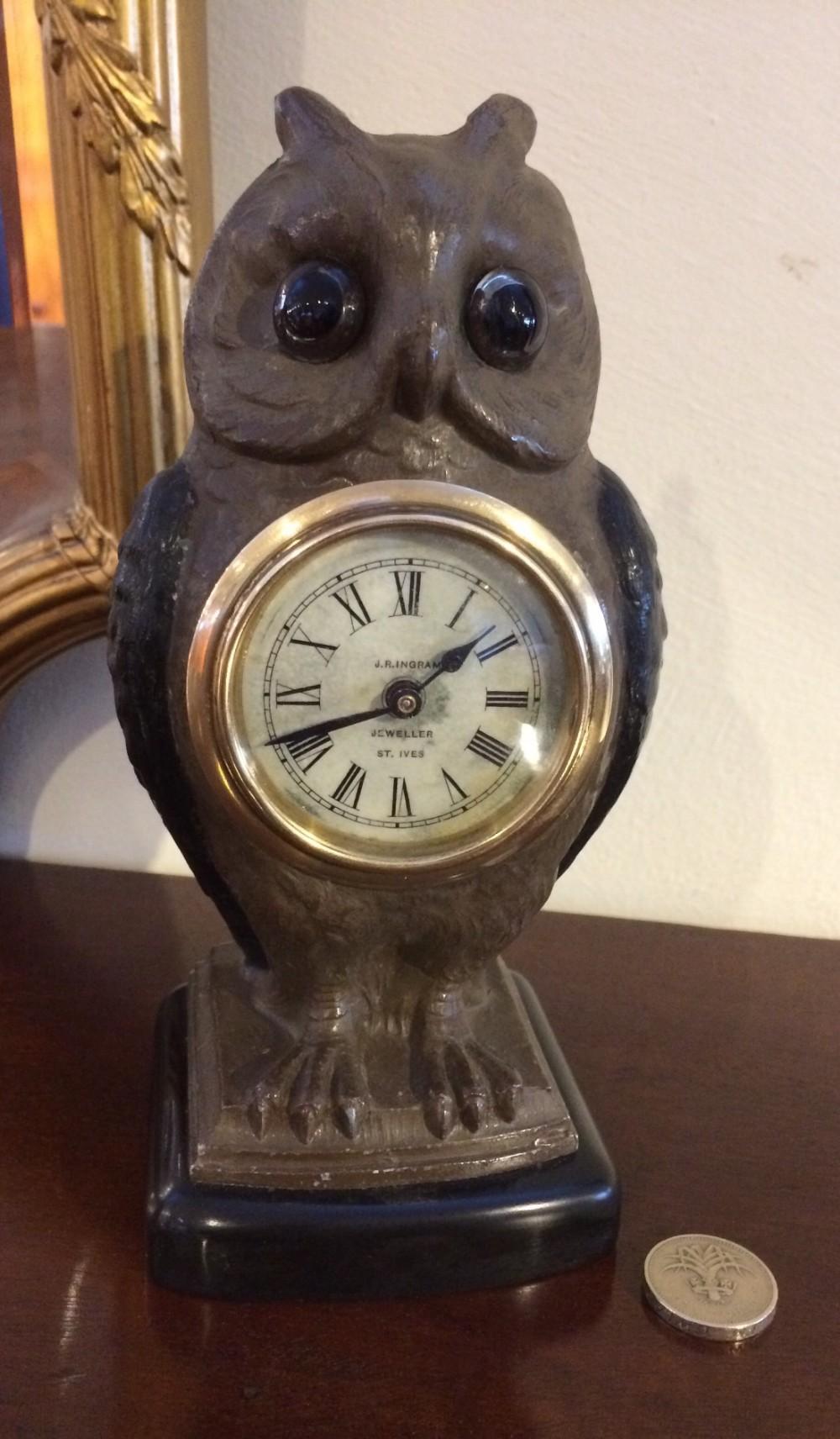 novelty owl mantel clock