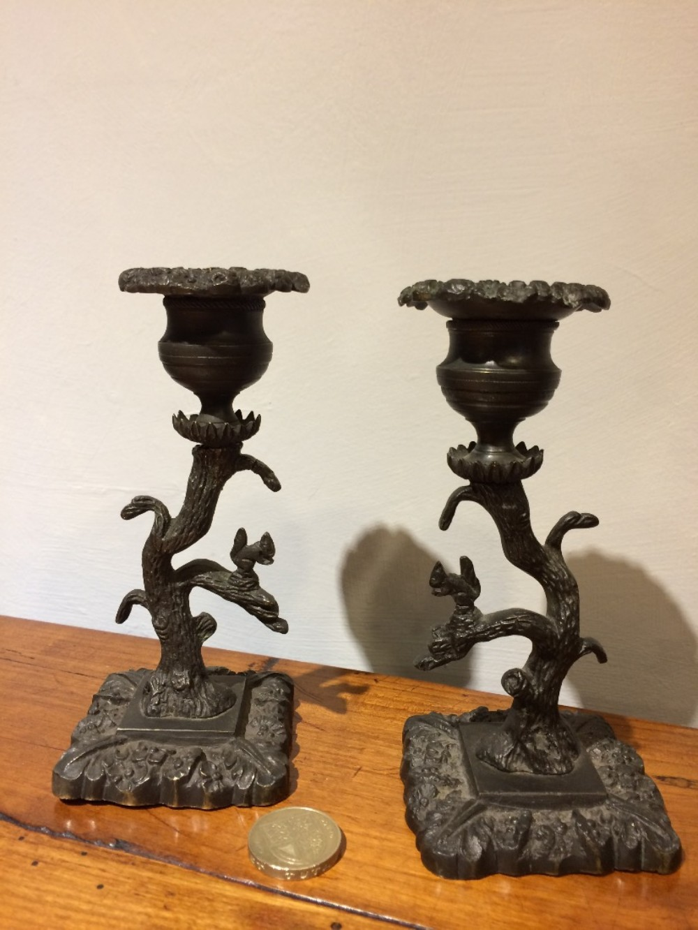pair small figural candlesticks