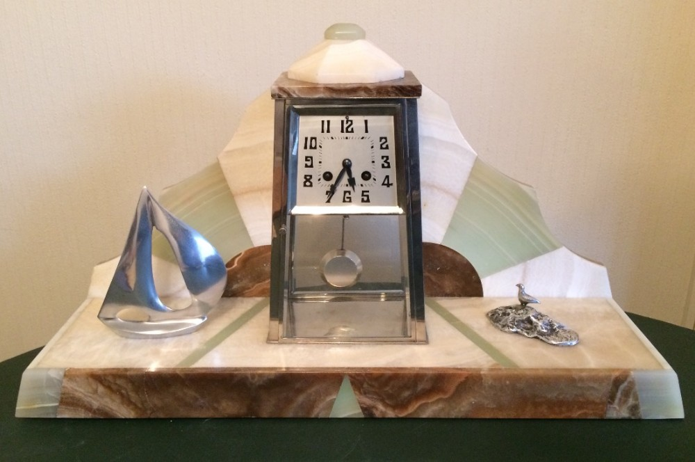 art deco nautical mantel clock