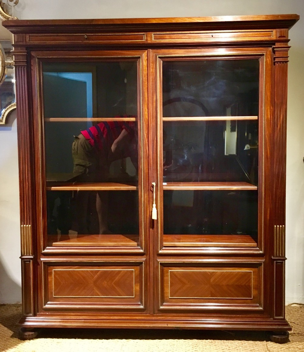 mahogany 2 door bookcase