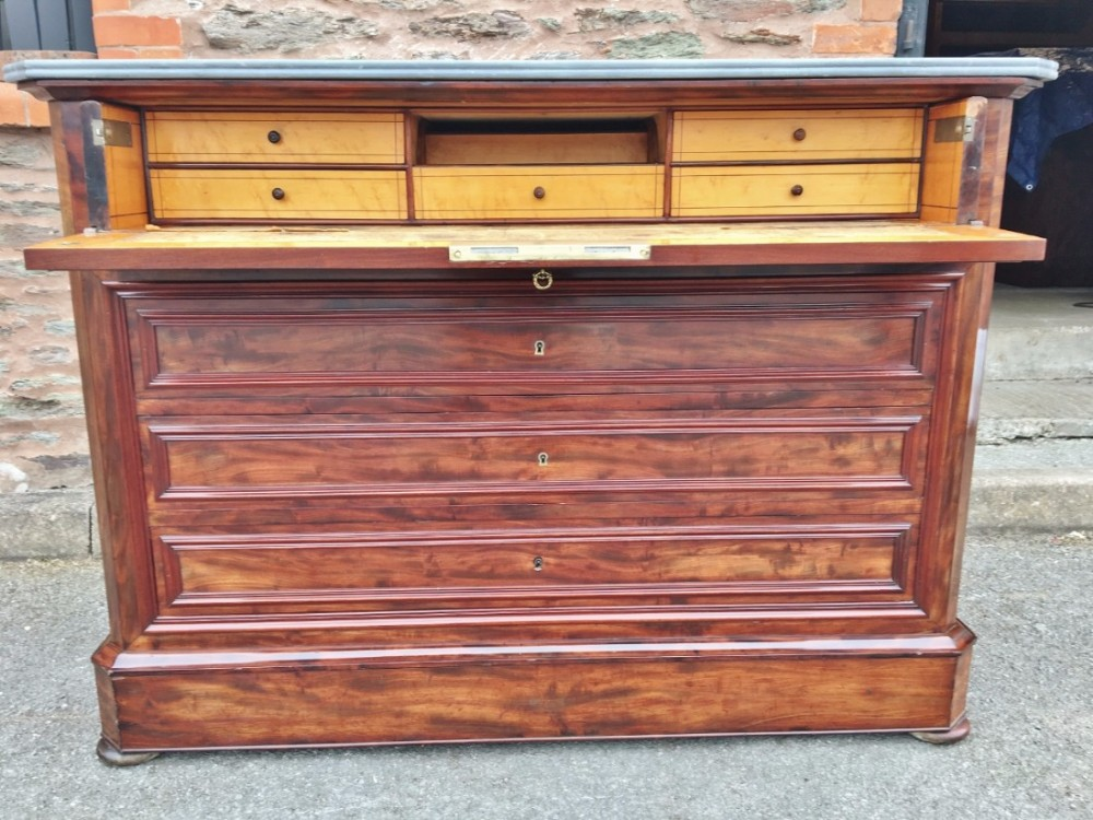 19th century mahogany secretaire chest of drawers