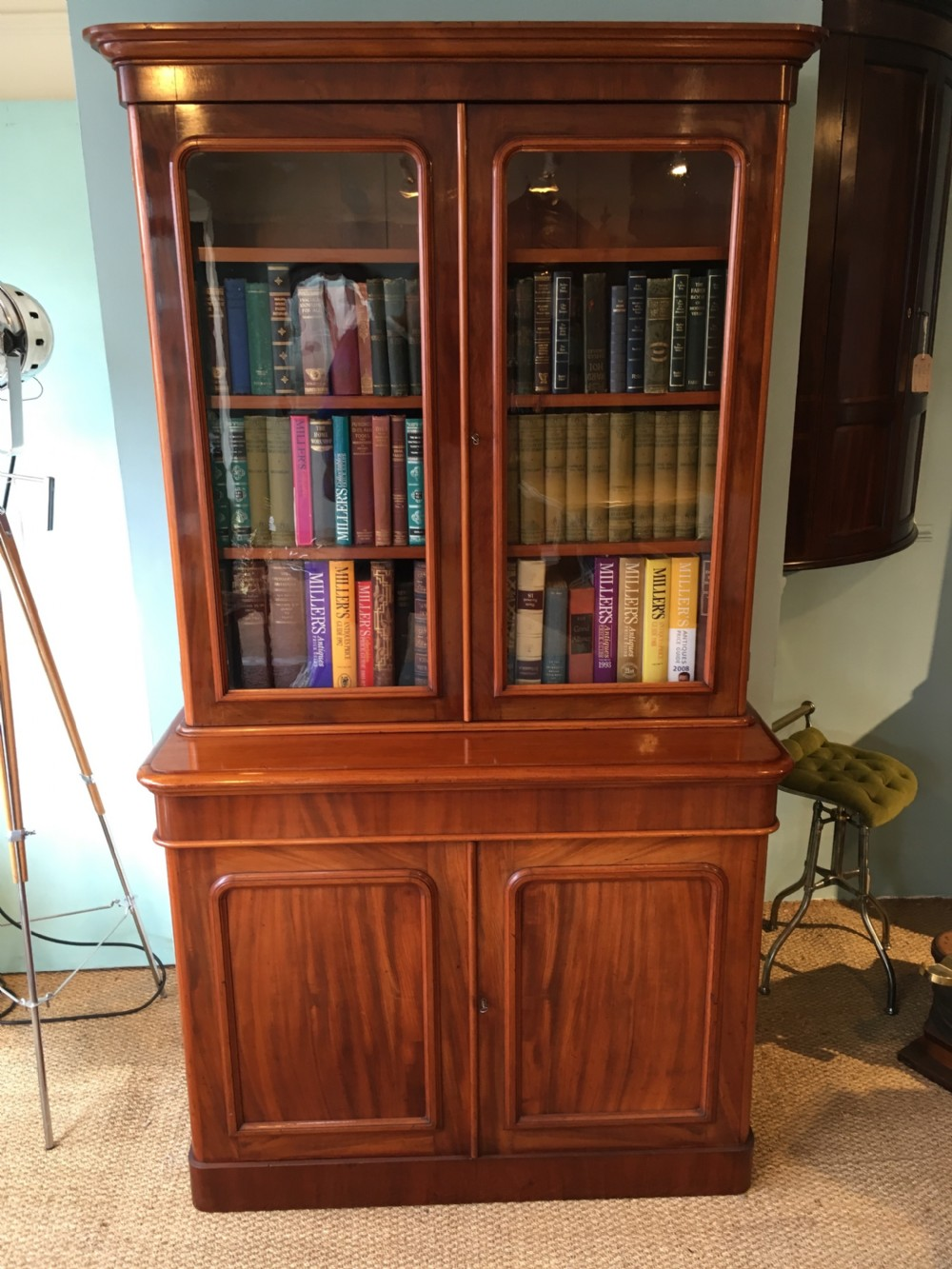 victorian mahogany 2 part bookcase