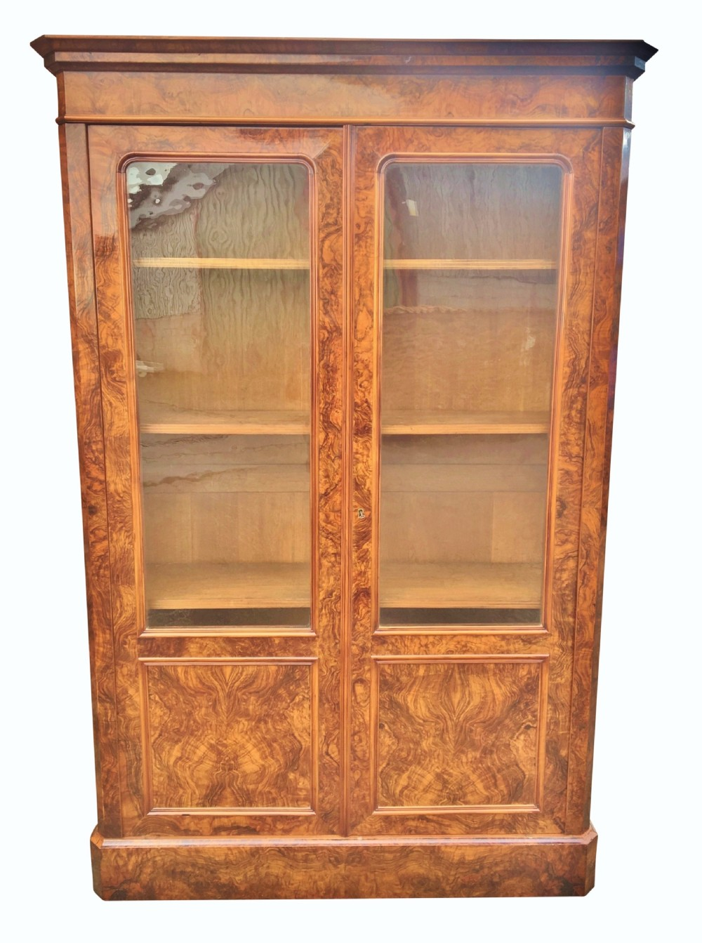bookcase figured walnut c 1870